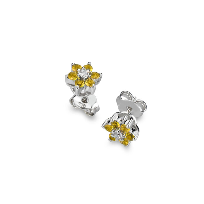 orecchini con diamanti gialli e oro bianco