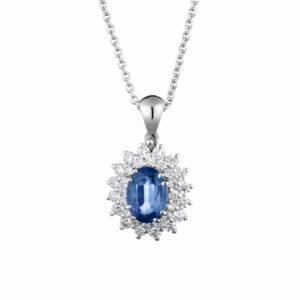 ciondolo zaffiro con diamanti