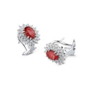 orecchini con rubino e diamanti