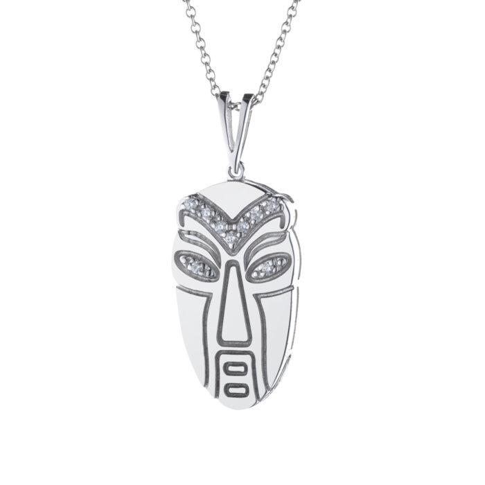 ciondolo maschera maori in oro bianco con diamanti