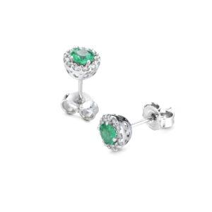 orecchini in oro bianco con smeraldo